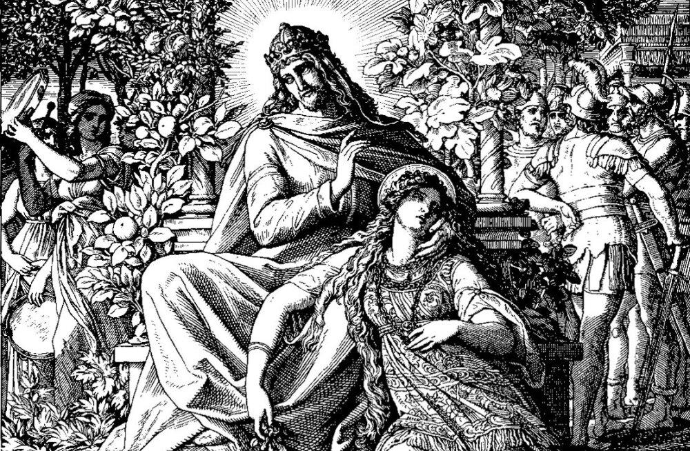 KÕIKE, MIDA SU KÄTEL ON JÕUDU TEHA, TEE: 18. sajandi romantikust saksa kunstniku Schnorrvon Carolsfeldi nägemus Saalomon Koguja maistest rõõmudest.