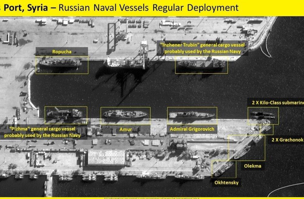 ФОТО СО СПУТНИКА: Российские боевые корабли покинули сирийский Тартус