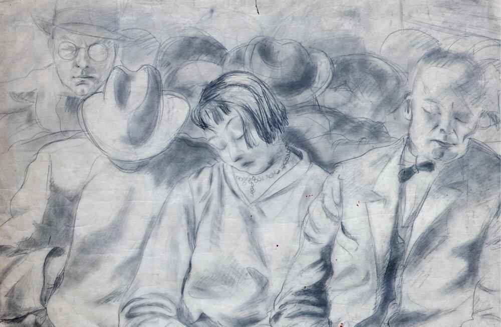 """Eduard Ole. """"Reisijad"""". Kavand (1929, grafiit, 90 × 90 cm)."""
