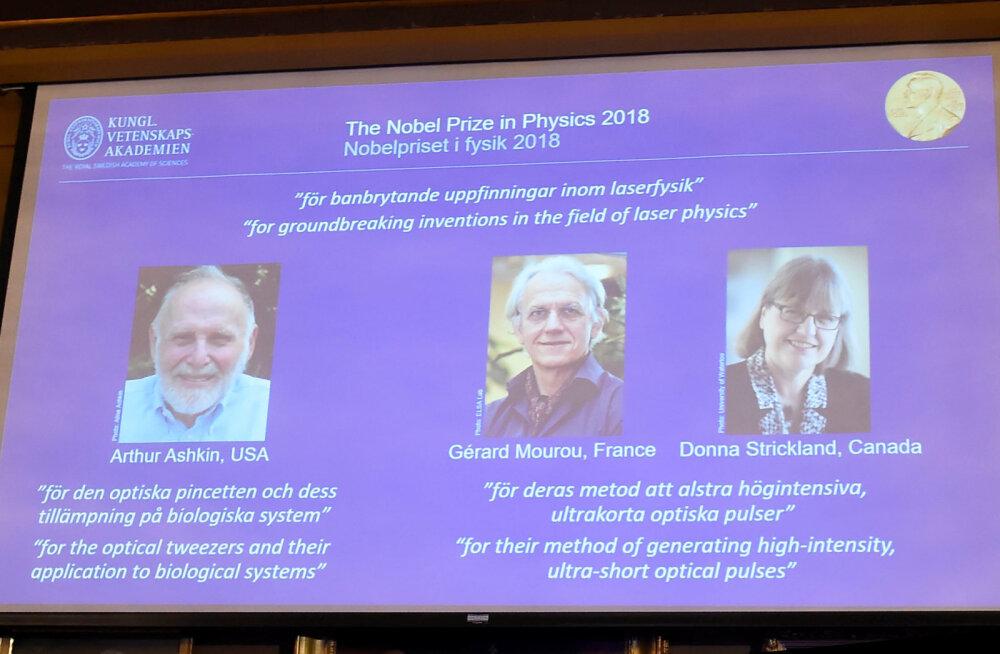 2018 NOBELI PREEMIAD | Füüsikapreemia said laserispetsialistid, preemia sai üle 55 aasta ka naine