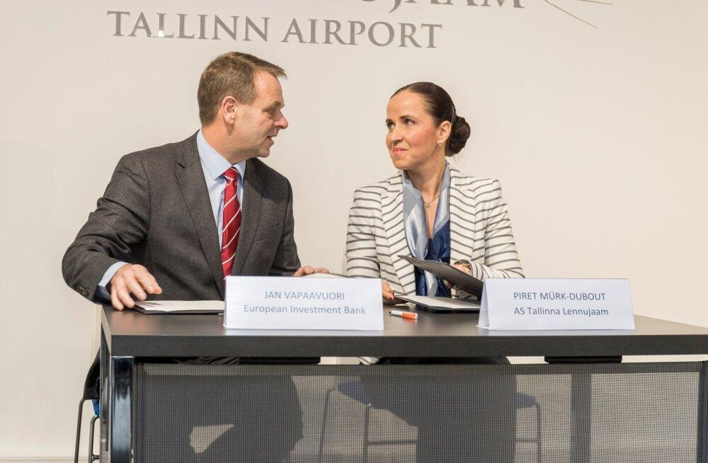 EIP asejuht Jan Vapaavuori ja Tallinna Lennujaama tegevjuht Piret Mürk-Dubout on lepinguga rahul.