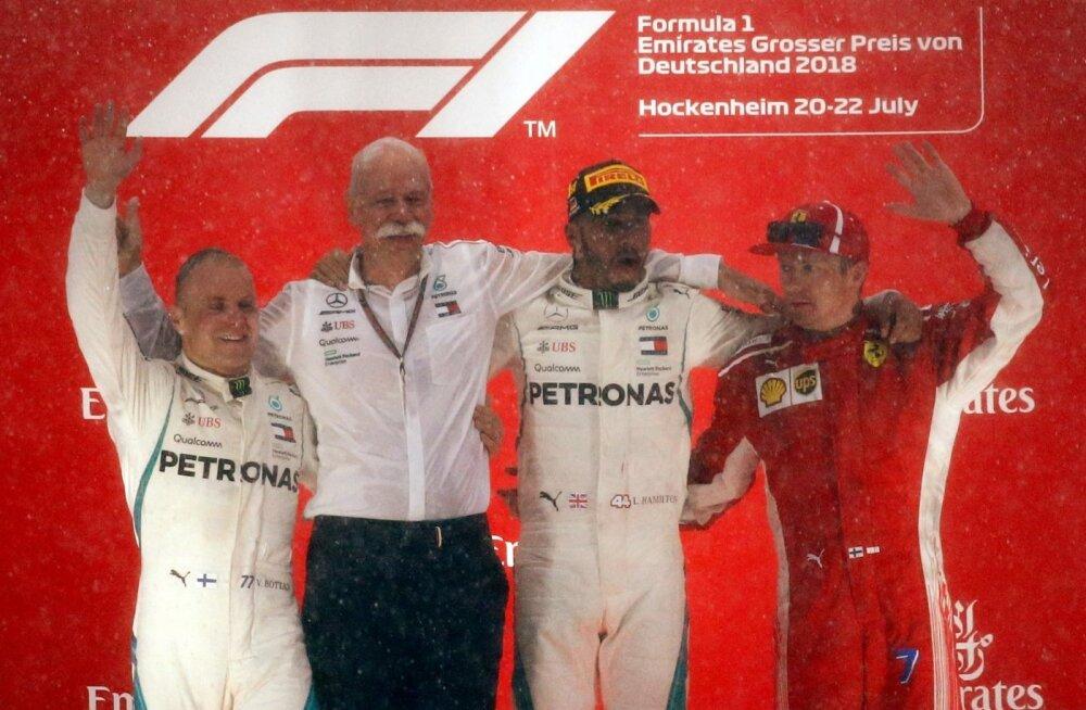 F1 MM-sarja Saksamaa GP poodium. Hamilton võitis lootusetu seisu kiuste.