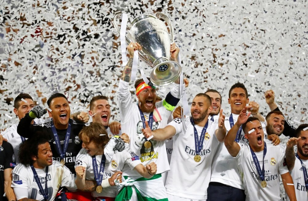 Meistrite liiga finaal tõi võidu taas Madridi Reali õuele. Meeskond võidujoovastuses Meistrite liiga trofeega