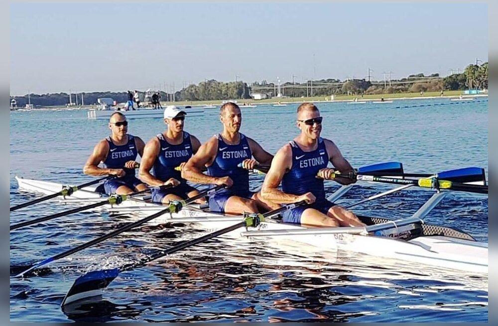 Eesti neljapaat koosseisus Kaur Kuslap (vasakult), Allar Raja, Tõnu Endrekson ja Kaspar Taimsoo Florida MM-il.