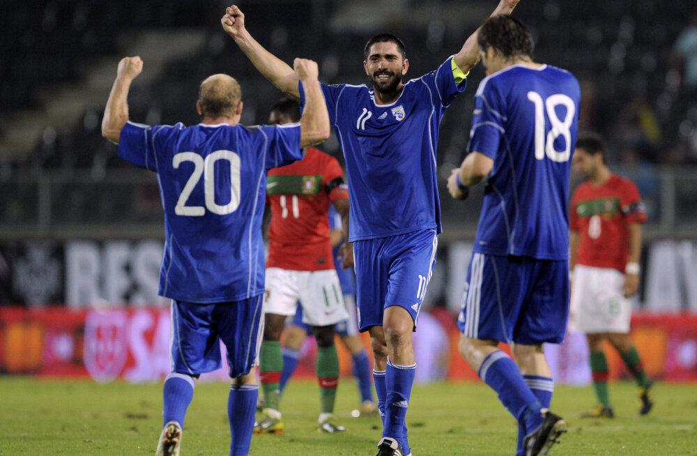 Küprose jalgpallurid, vasakul Andreas Avraam