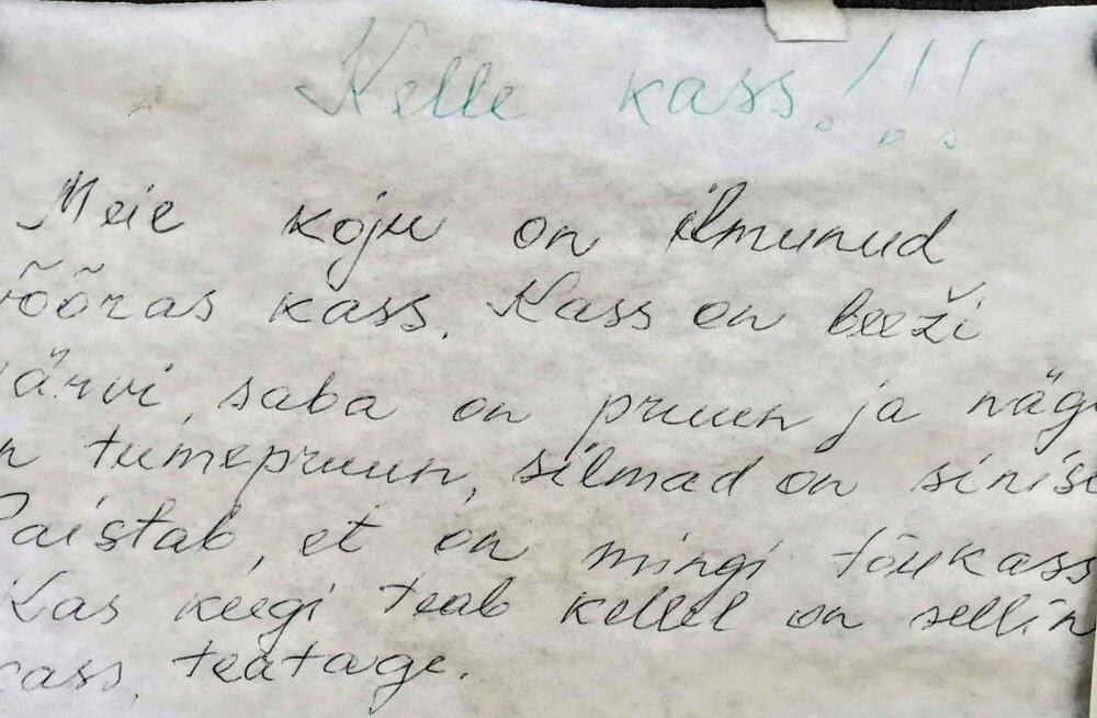 OH, MIS ARMAS KASSIKUULUTUS | Kaunid käsitsikirjutatud teated küla kuulutustetulbal vajuvad minevikku