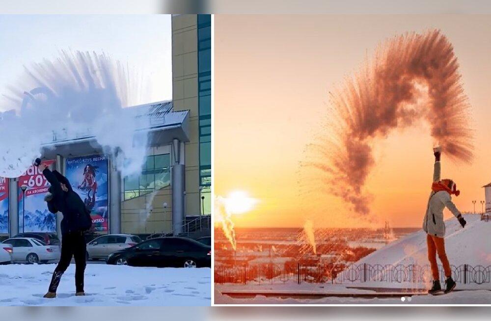 Смотрите, какая красота! Брызги кипятка на морозе: жители Сибири устроили необычный флешмоб