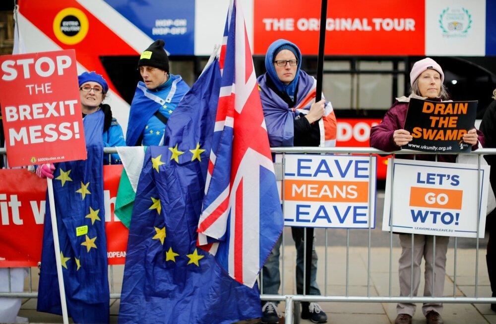 Eile olid Londonis parlamendihoone juurde kogunenud nii tulihingelised Brexiti vastased kui ka pooldajad. Mõlemad nõudsid, et nende soov täidetaks.