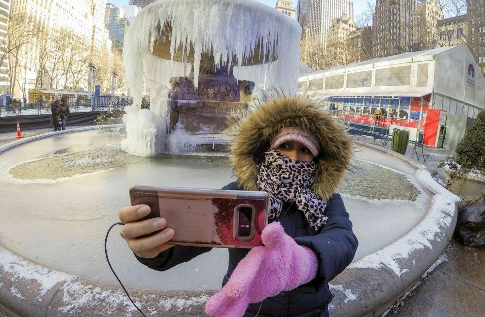 Jäine ilu - külmunud purskkaev New Yorgis
