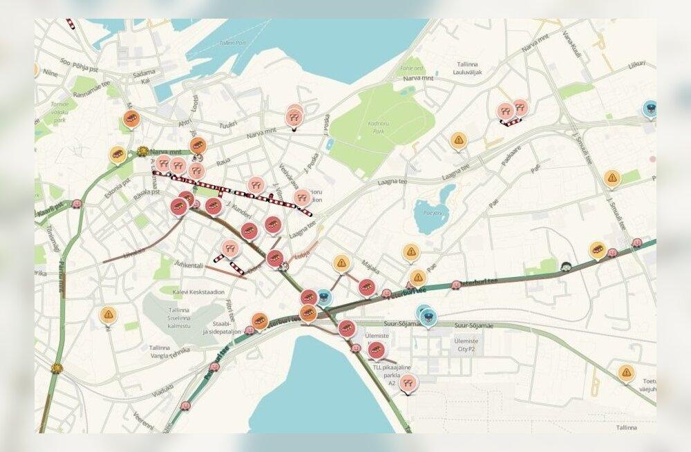 ФОТО DELFI: В Таллинне на Тартуском шоссе пробка растянулась от Stockmann до аэропорта
