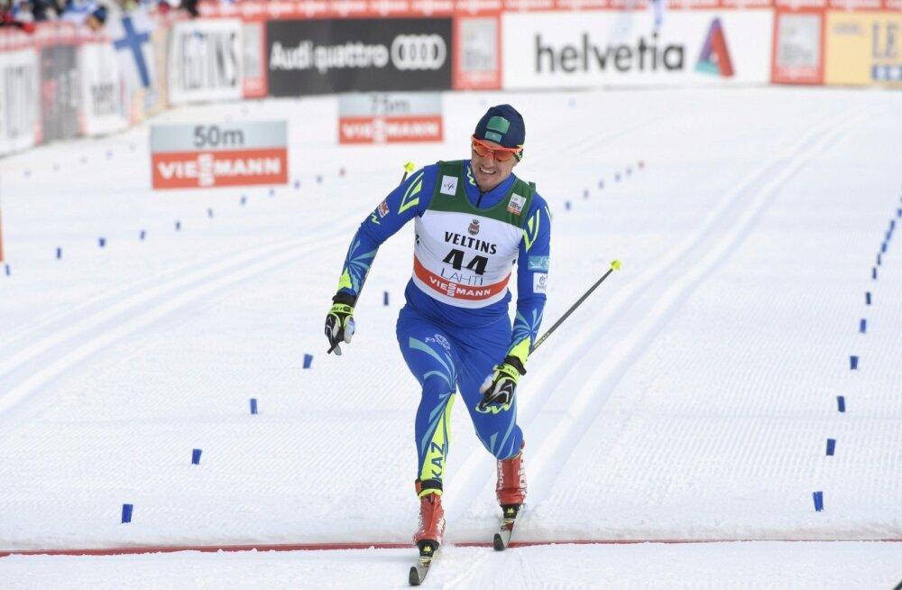 Aleksei Poltoranin on Lahtis võitjana finišis.