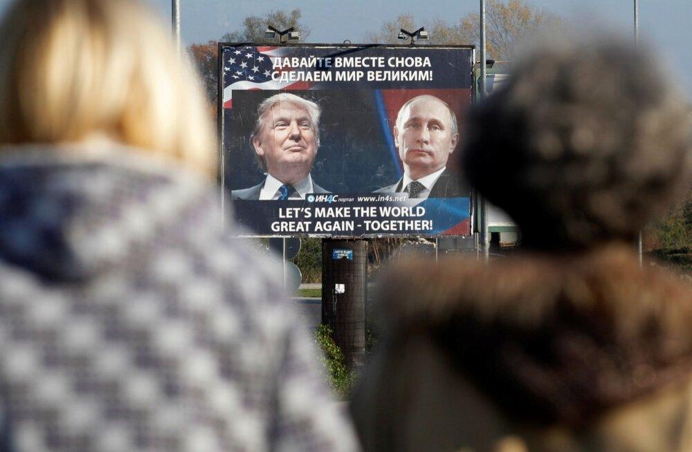 Plakatil on kirjas, et Trump ja Putin teevad maailma koos korda. Aga mitte ilmtingimata, säutsus Trump.