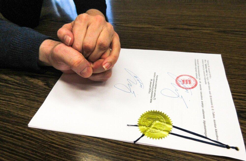 Tõenäoliselt Eesti teine sõlmitud kooseluleping. Selle sõlmisid naine ja mees ühes Tallinna kesklinna notaribüroos kolmapäeva pärastlõunal.