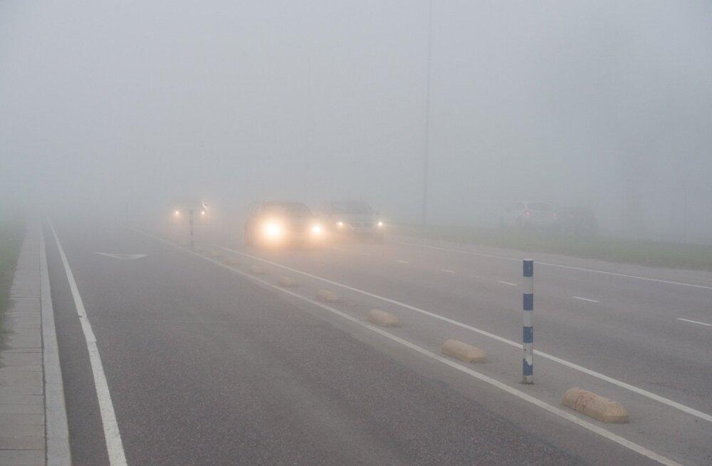 Ettevaatust: teed on niisked või märjad, kohati on udu