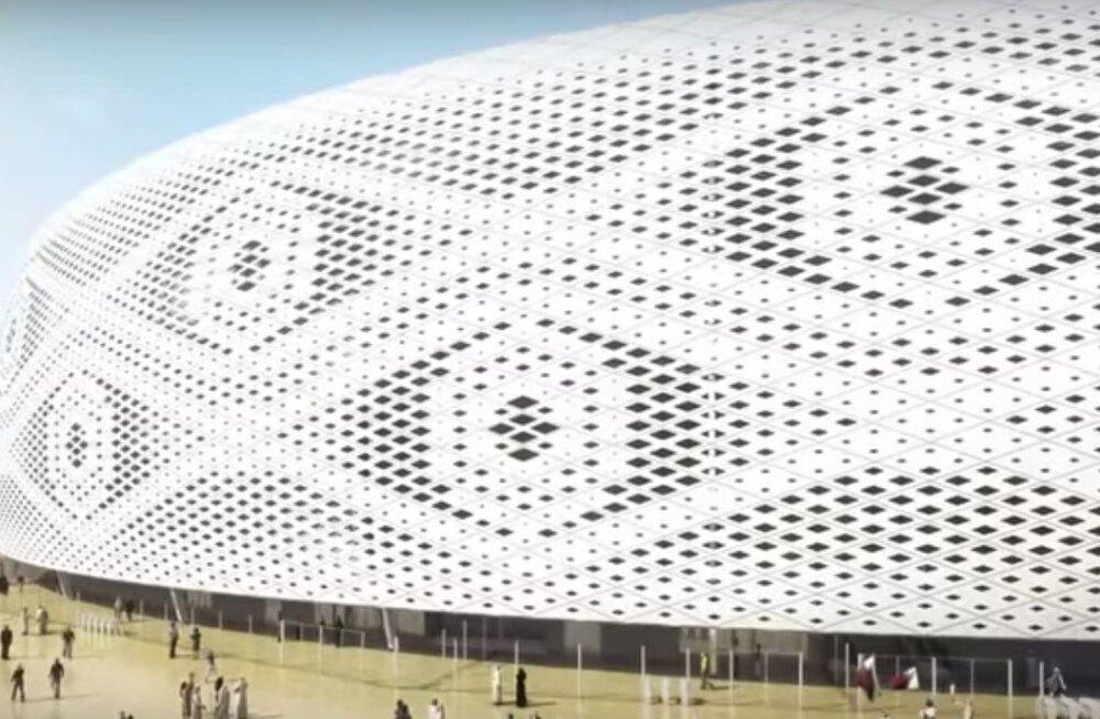 VIDEOUUDIS | Just selline peen ja pitsiline hakkab välja nägema 2022. aasta jalgpalli maailmameistrivõistluste staadionihoone Kataris