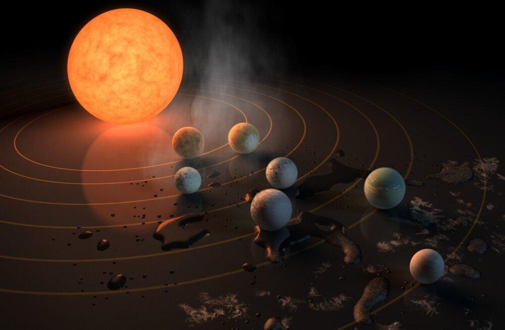 Liiga märg: süsteemi TRAPPIST-1 eksoplaneetidel võib leiduda elamiseks sobimatult palju vett