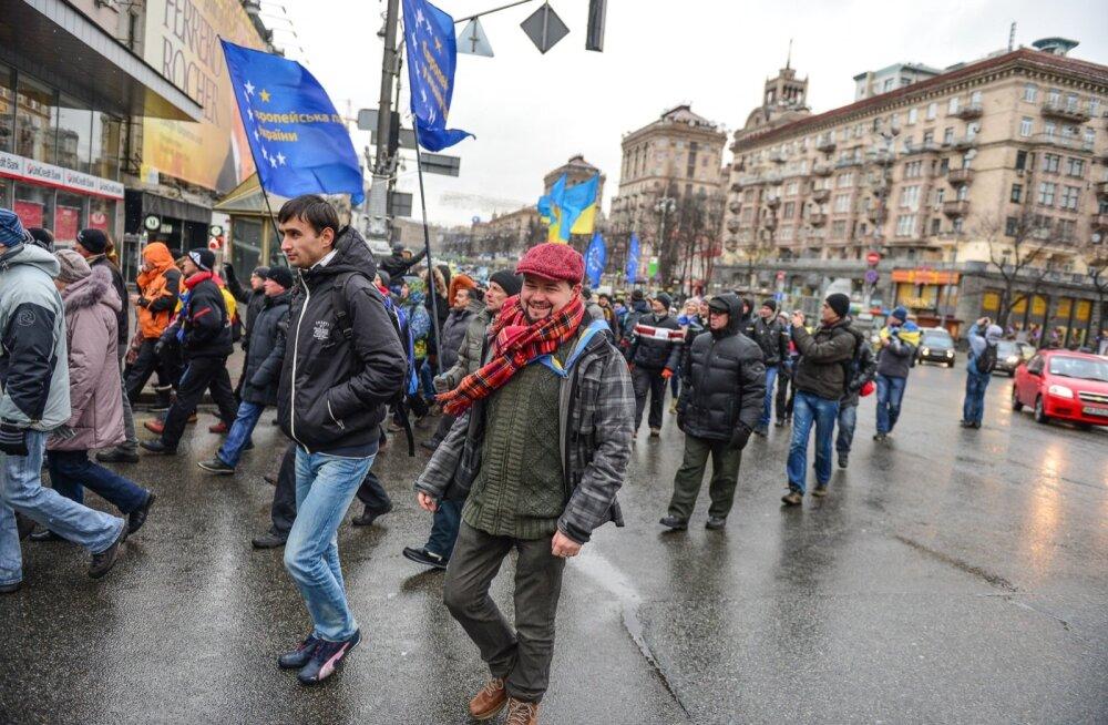 Loo autor (punase soniga) marssis 2013. aastal Maidanil koos euromeelsete ukrainlastega.