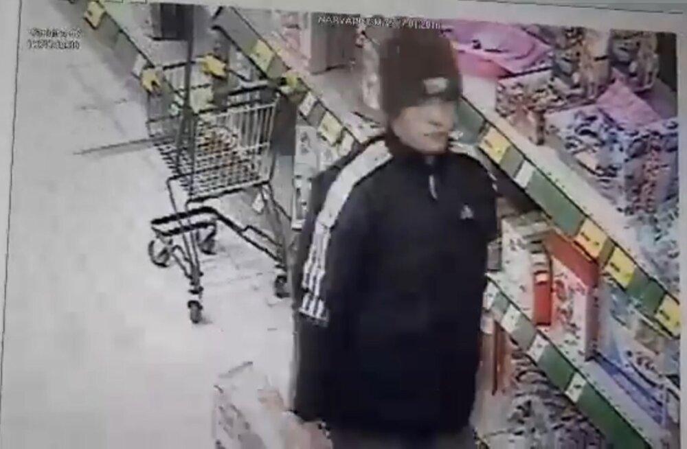ВИДЕО: Нарвская полиция просит помощи в установлении личности человека, которого подозревают в краже