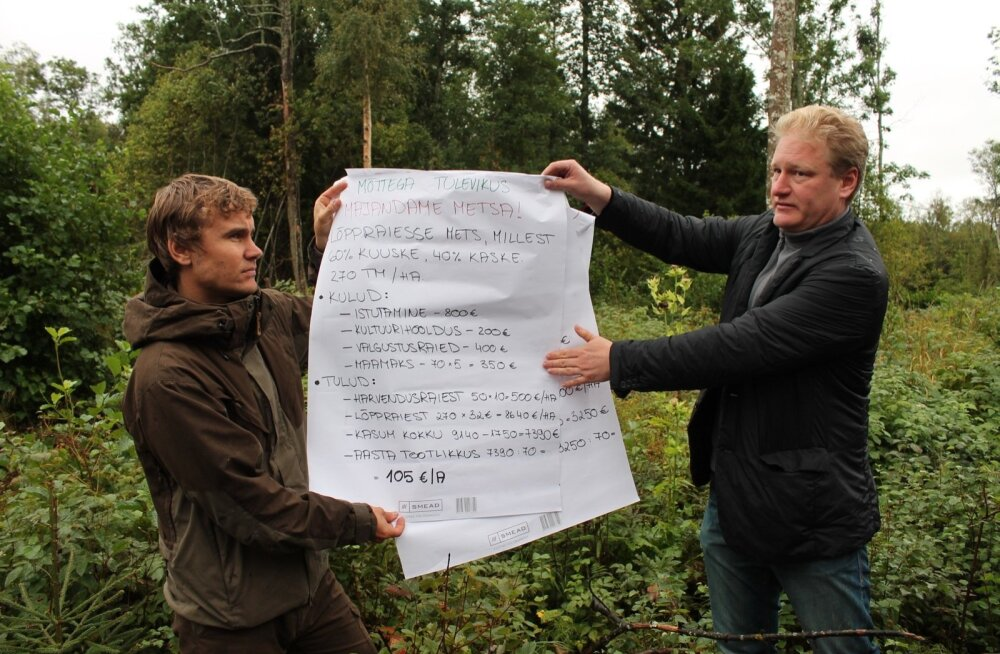 Uue süsteemi järgi jagatakse kogu nõustamistoetuseks ette nähtud eel arve aasta alguses metsaühistute vahel ära vastavalt ühistu liikmete arvule. Pildil jagab loo autor Jaanus Aun (paremal) metsanduslikku tea vet aga nõuandesüsteemist sõltumatult – Otsust