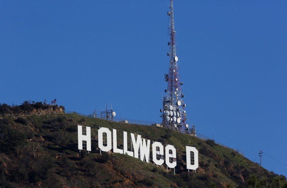 ФОТО: Неизвестный переделал надпись Hollywood в трибьют марихуане