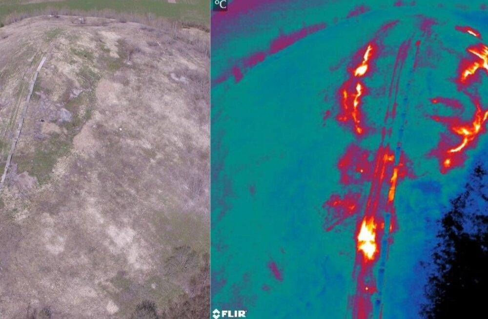 Tavavärvides foto (vasakul) ja termofoto (paremal) Kukruse aherainemäe lõunaküljest. Termofotol on soojemad kohad ümbritsevast heledamad. Termopildid ja video on tehtud Kobras AS ja Tallinna tehnikaülikooli Tartu kolledži koostöös.