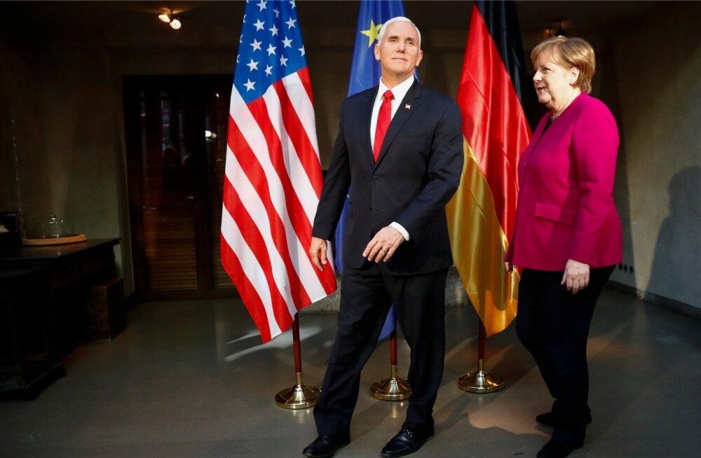 USA asepresident Mike Pence ja Saksamaa liidukantsler Angela Merkel Müncheni julgeolekukonverentsil