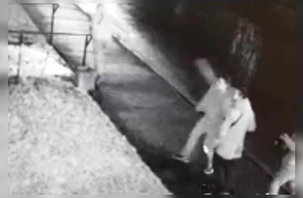 ВИДЕО: Нарвская полиция просит помочь найти разбившего бутылкой окно к квартире