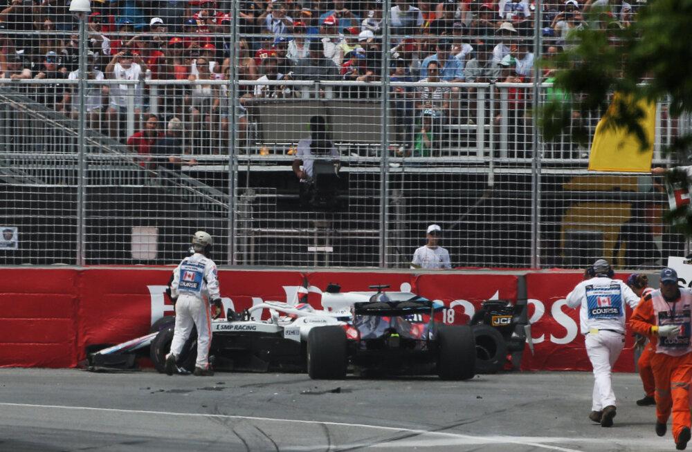 VIDEO | Vormel-1 Kanada GP algas suure avariiga, Hartley viidi haiglasse kontrolli