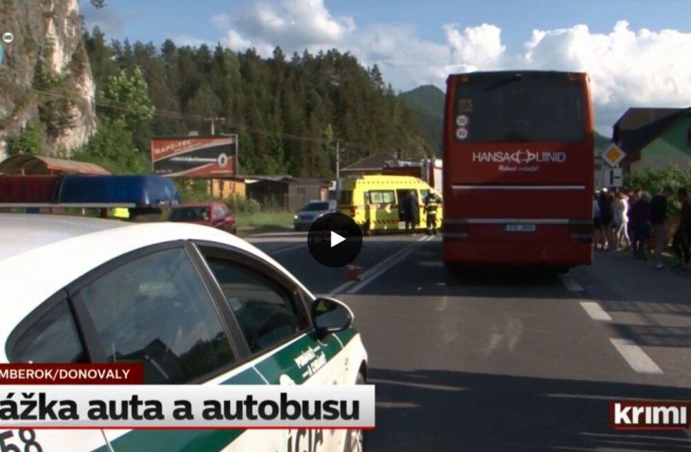 ВИДЕО: В Словакии автобус с эстонскими школьниками попал в ДТП, дети не пострадали