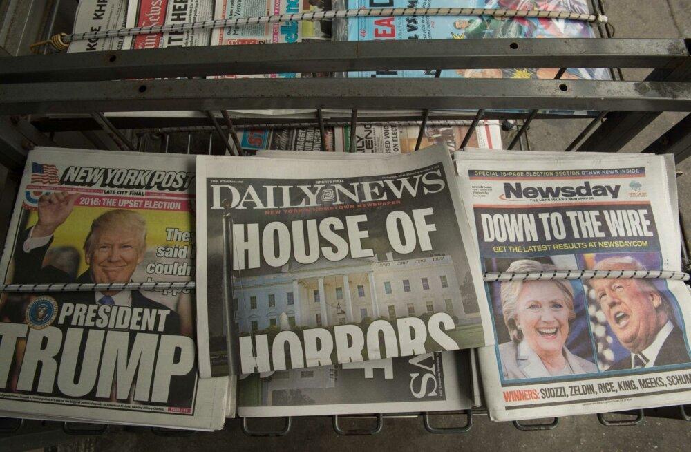 USA ajalehtede esikaaned 9. novembril