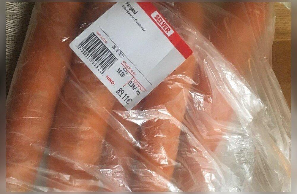 ФОТО: Почти 100 евро за килограмм! Клиента испугала цена моркови в Selver