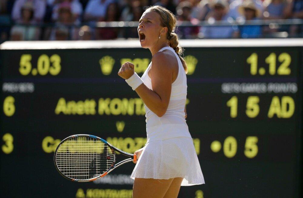 Mullu jõudis Anett Kontaveit Wimbledonis kolmandasse ringi, kus pidi tunnistama Caroline Wozniacki paremust.