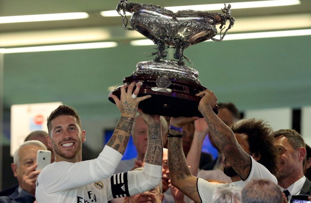 Madridi Reali ässad Sergio Ramos ja Marcelo said laupäeval pärast AC Milani alistamist pea kohale tõsta Santiago Bernabéu karika. Juba homme jahitakse Tallinnas UEFA superkarikat.