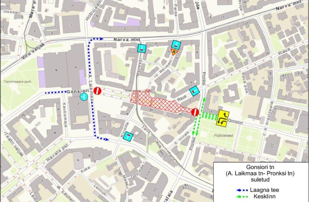KAART | Tallinnas algavad esmaspäeval sobiva ilma korral Gonsiori tänava remonditööd