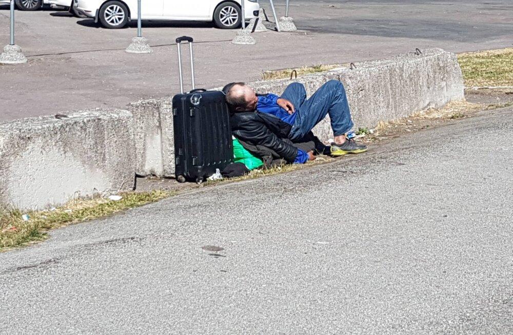 """ФОТО читателя Delfi: Неприглядная картина: в центре Таллинна постоянно собираются бездомные, они """"пируют"""" и свинячат"""
