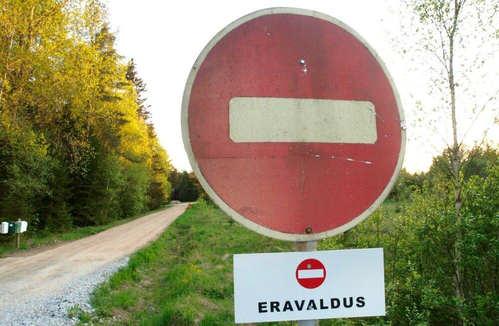 Erateelele saab seada kitsenduse tee avalikuks kasutamiseks