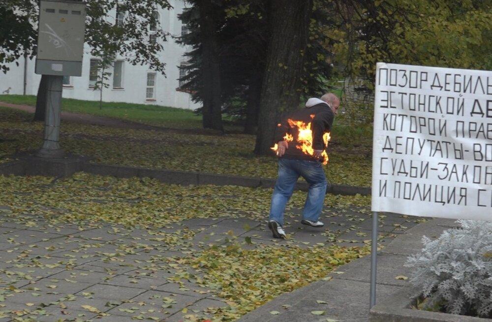 Narvas pani mees ennast põlema