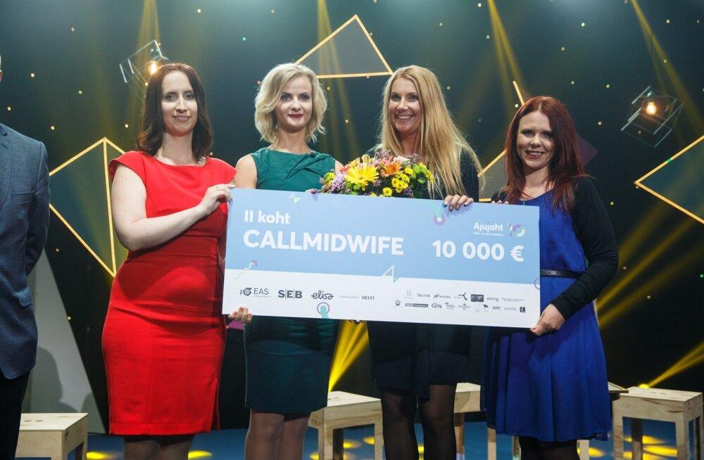 Callmidwife'i meeskond Ajujahi finaalis.Teenuse omaniku MiaMed OÜ omanik ja juhatuse liige Liina Normet on paremalt teine.