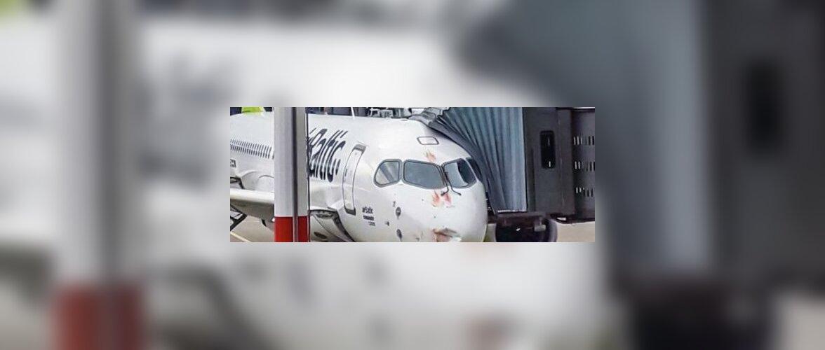 FOTO: AirBalticu lennuki kere sai Riias linnuparvega kokku põrgates kahjustada