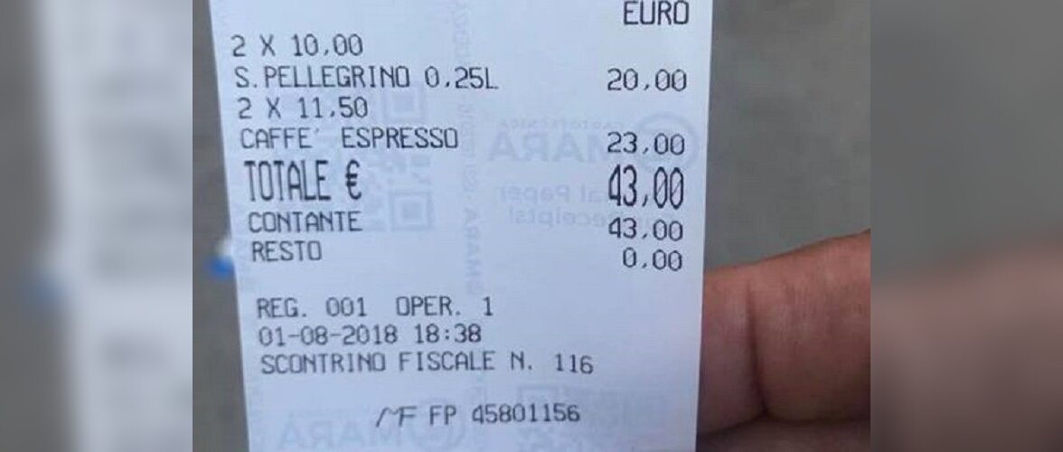 43 евро за два стакана воды и кофе? Угадайте, о каком городе идет речь