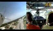 Piloot maandub lennukiga autoteel (mootorid seiskusid)