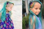 Internet on pahane: Sobilik või mitte? Inimesed laidavad ema, kes värvis oma lapse juuksed siniseks ja ajas külje kiilaks