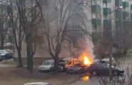 ФОТО DELFI: Ночью в мустамяэском дворе горело шесть машин