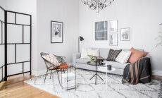 Musta ja valge kaunis kooslus täiuslikuks kujundatud korteris