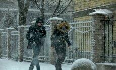 Talv, tuisk, lumi, autod, tänav, jalakäijad