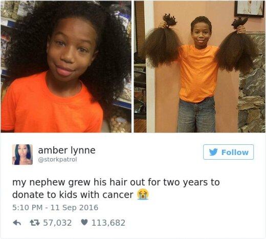LIIGUTAV ŽEST, mis lõi interneti pahviks! Väike poiss kasvatas endale pikad juuksed, et annetada need vähihaigetele