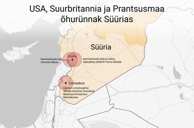 ГРАФИК DELFI: Смотрите, по каким местностям были нанесены удары в Сирии