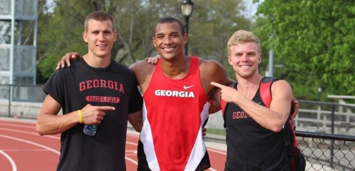 Georgia ülikooli atleedid: Maicel Uibo (vasakul) katkestas, Garrett Scantling sai pronksi, Karl Robert Saluri oli seitsmes.