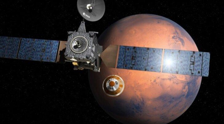 Kunstniku kujutlus sellest, kuidas Schiaparelli on end sondi küljestvabastanud ja alustab teekonda Marsi pinnale.
