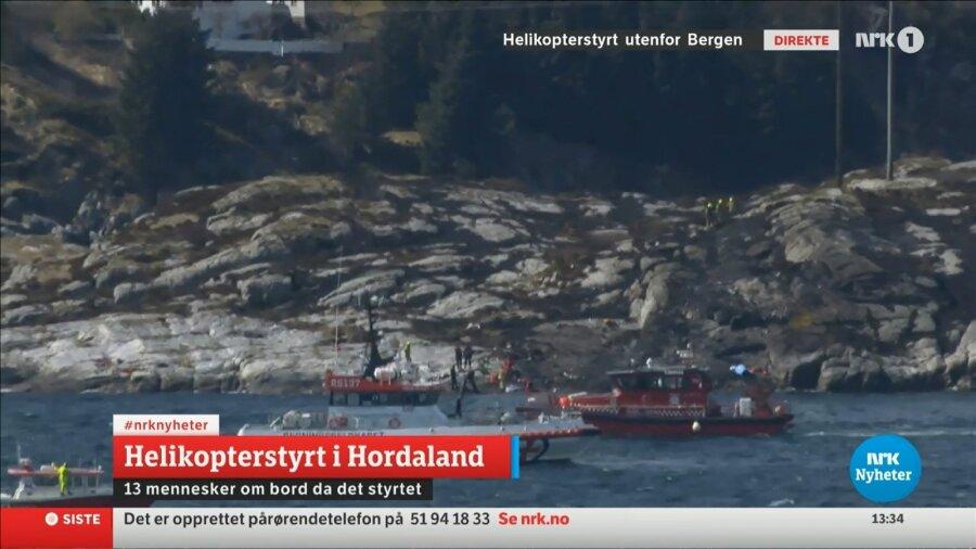 Доказана смерть 11 человек в итоге крушения вертолета вНорвегии